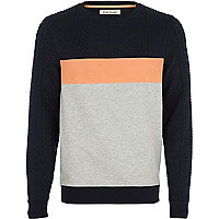 Grey mesh panel sweatshirt