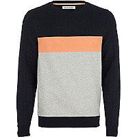 Grey mesh panel sweatshirt