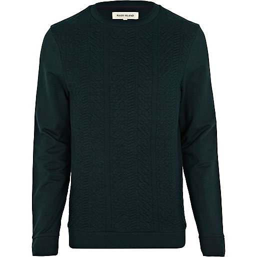 Dark green cable quilted sweatshirt