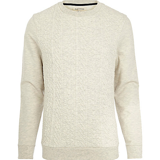 Ecru cable quilted sweatshirt