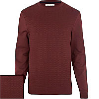 Dark red geometric textured sweatshirt