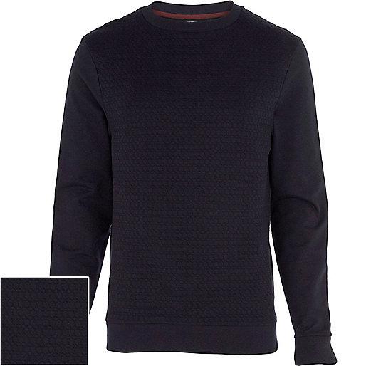 Navy blue geometric textured sweatshirt