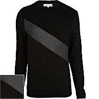 Black leather-look panel sweatshirt