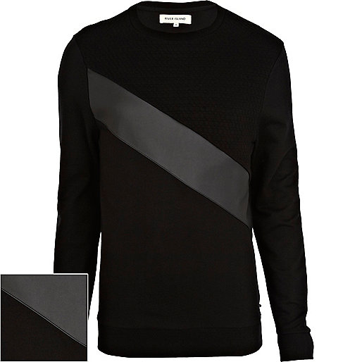 Black leather-look panel sweatshirt