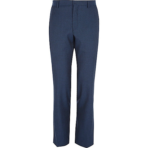 Navy blue slim suit trousers