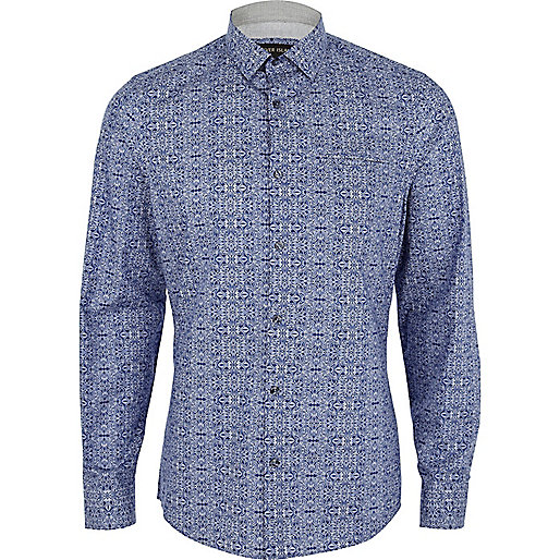 Blue ornate printed long sleeve shirt