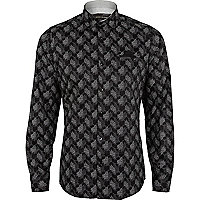 Black geometric spot print long sleeve shirt
