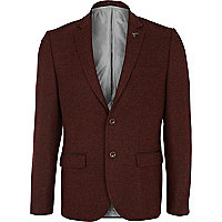 Brown animal collar pin wool blazer