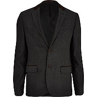 Dark grey contrast trim blazer