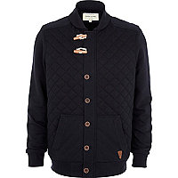 Navy borg lined quilted jacket