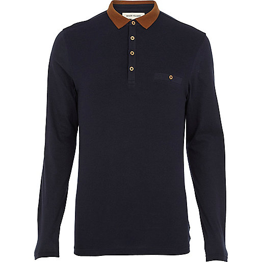 Navy contrast collar long sleeve polo shirt