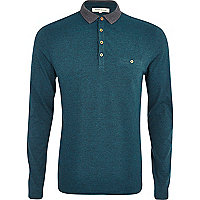Blue contrast collar long sleeve polo shirt