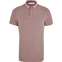 Red jacquard contrast collar polo shirt