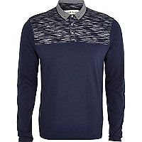 Navy space dye yoke polo shirt