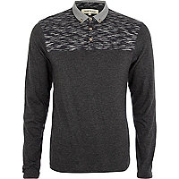 Grey space dye yoke long sleeve polo shirt