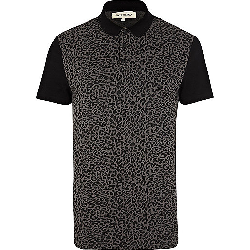 Grey leopard print polo shirt