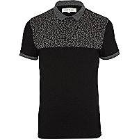 Grey leopard print yoke polo shirt
