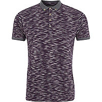 Dark purple space dye polo shirt