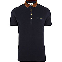 Navy contrast collar polo shirt