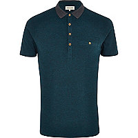 Navy Tile Print Shoulder Patch Polo Shirt
