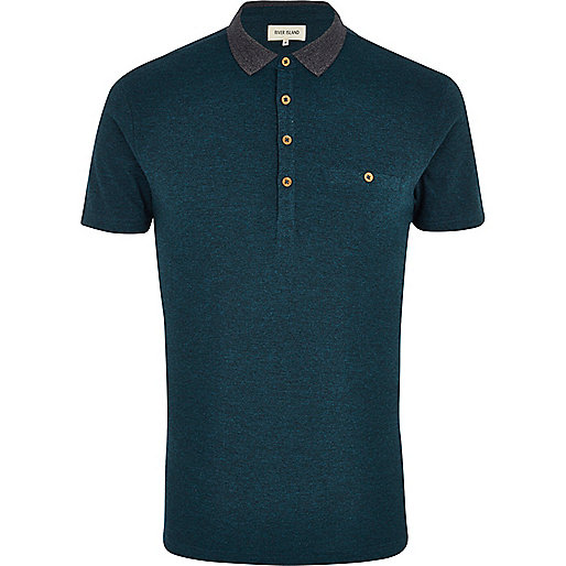 Teal contrast collar polo shirt