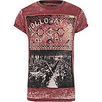 Red burnout Holloway Road print t-shirt