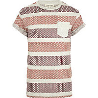 Red tile print stripe t-shirt