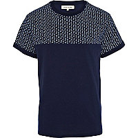Navy paisley print sliced t-shirt