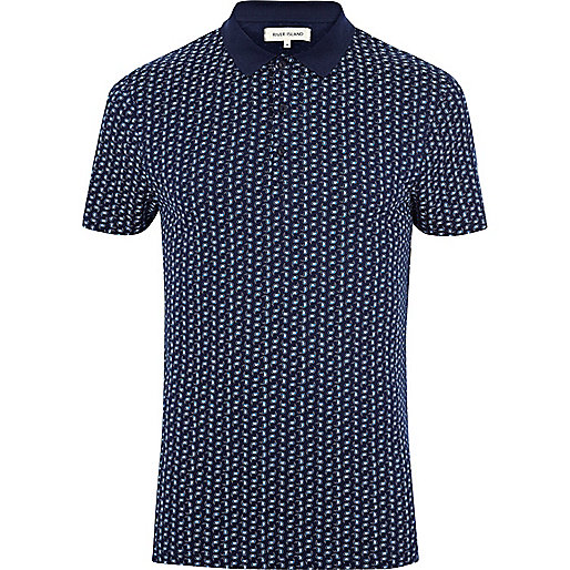 Navy paisley polo shirt