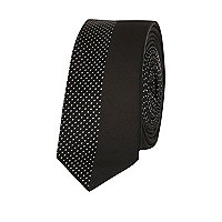 Black polka dot two-tone tie