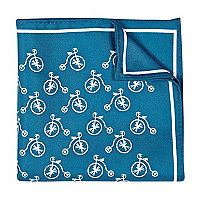 Teal bike print handkerchief