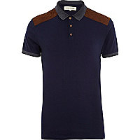 Navy suede shoulder patch polo shirt