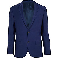 Dark blue wool-blend slim suit jacket