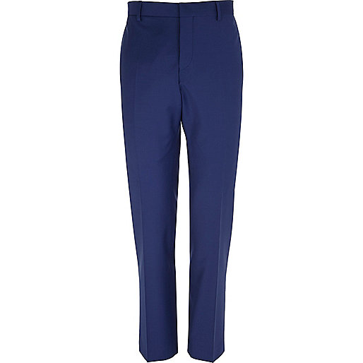 Dark blue wool-blend slim suit trousers