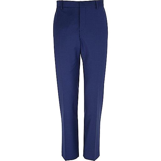 Dark blue wool-blend slim suit trousers
