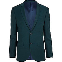 Dark green wool-blend slim suit jacket