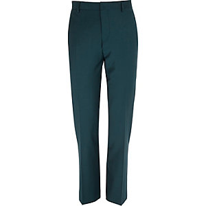 Dark green wool-blend slim suit trousers