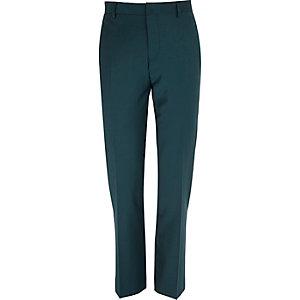 Dark green wool-blend slim suit trousers