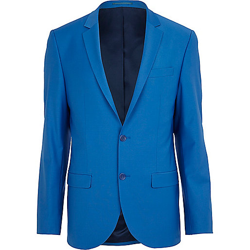 Bright blue wool-blend slim suit jacket