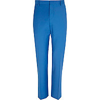 Bright blue wool-blend slim suit trousers