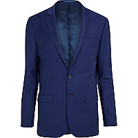 Dark blue wool-blend skinny suit jacket