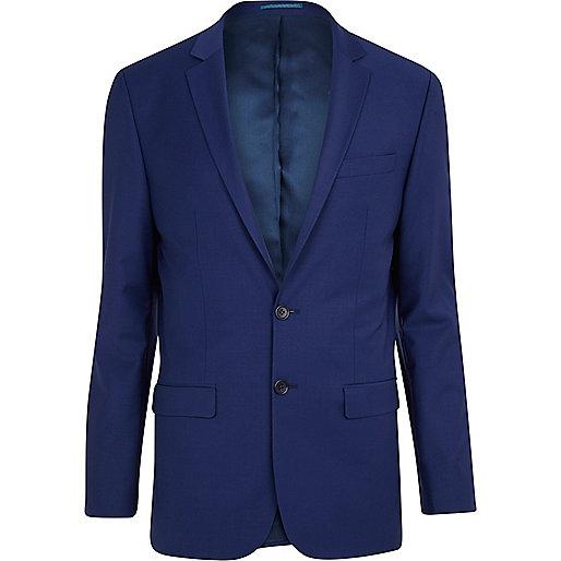 Dark blue wool-blend skinny suit jacket