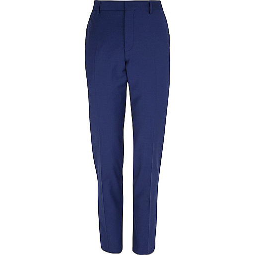 Dark blue wool-blend skinny suit trousers