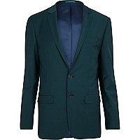 Dark green wool-blend skinny suit jacket