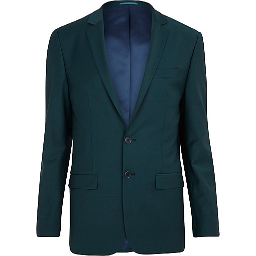 Dark green wool-blend skinny suit jacket