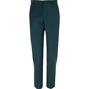 Dark green wool-blend skinny suit trousers