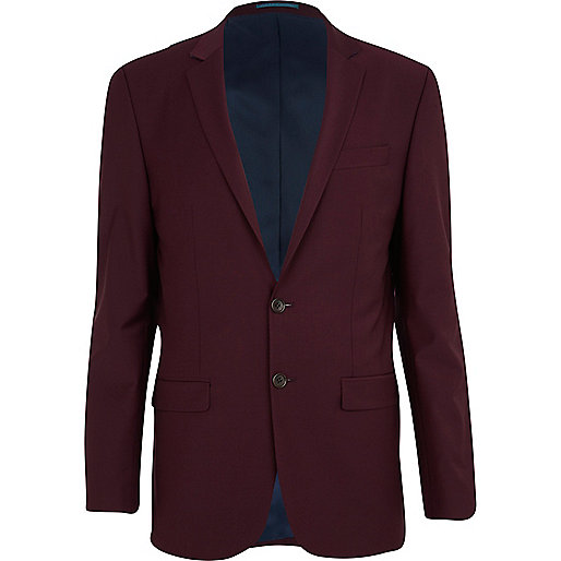 Dark red wool-blend skinny suit jacket