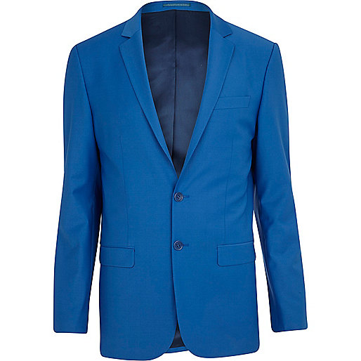 Bright blue wool-blend skinny suit jacket