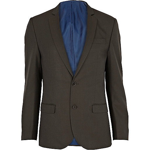 Khaki green slim suit jacket