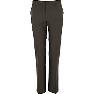 Khaki green slim suit trousers